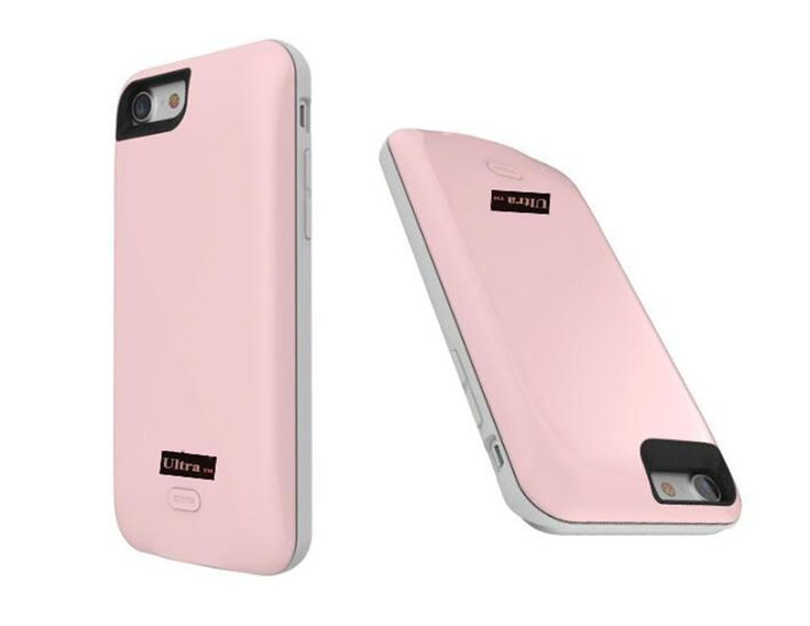 Pink coloured mobile phone charger case for iphone 7 and 7 plus mobile phones