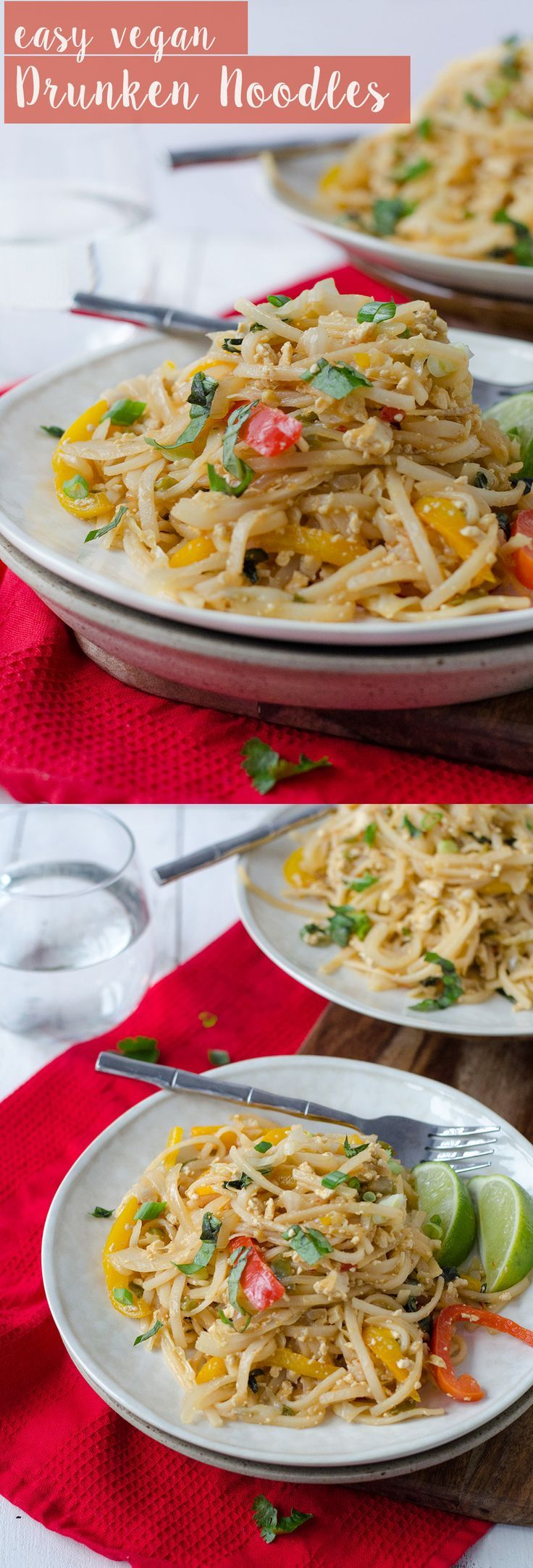 Easy Vegan Drunken Noodles! Spicy sauce with rice noodles and vegetables. Easier and healthier than Thai takeout! #vegan #vegetarian #thai #dinner #healthy #spicy #weeknightdinner | www.delishknowledge.com