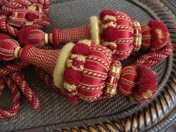 Antique Curtain Tie Backs. Holders. Tassels. French Chateau . Late 1800s. For theater style curtains.