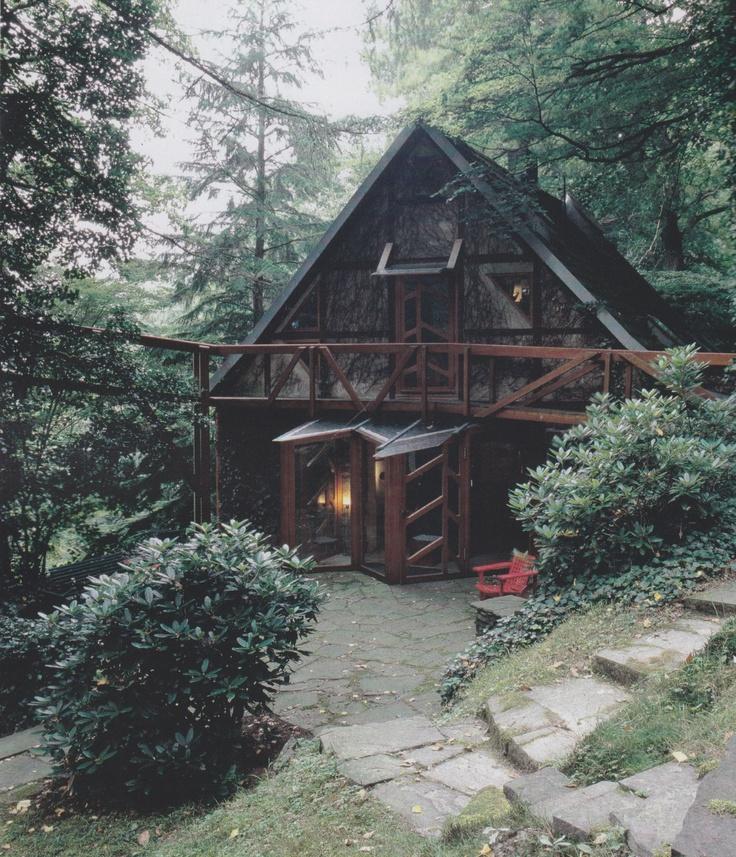 wood aframe house...
