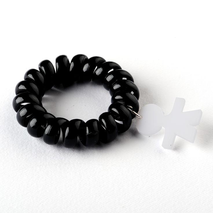 VENDUTO - Bracciale Molle Cami: bracciale con molle e soggetto Cami in plexiglass. Colore: nero