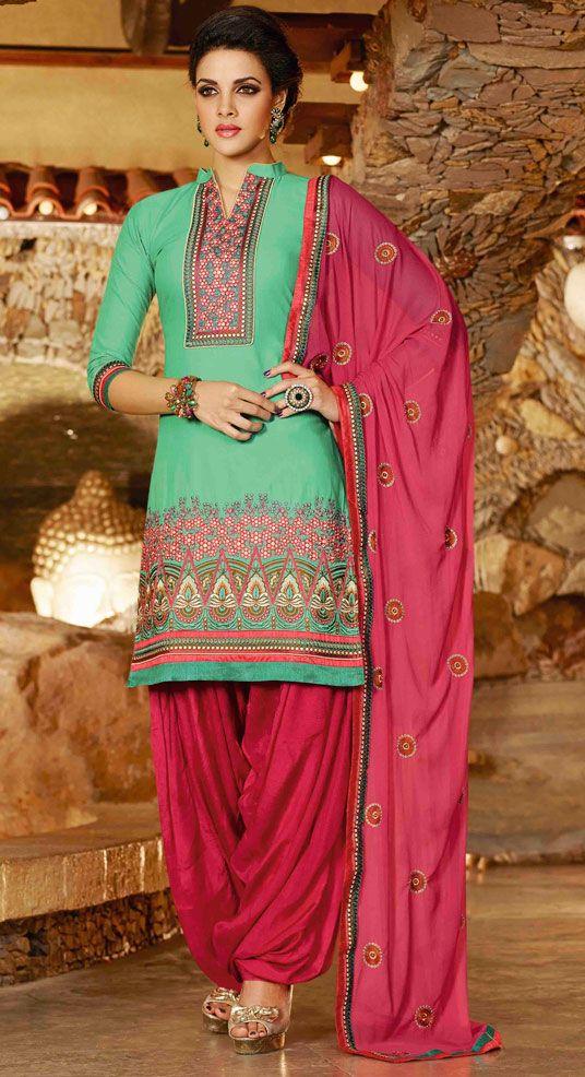USD 31.68 Sea Green Cotton Punjabi Suit 44859