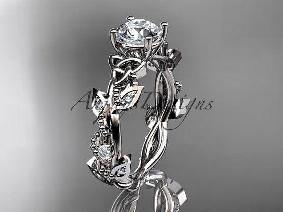 14k white gold celtic trinity knot diamond leaf by anjaysdesigns