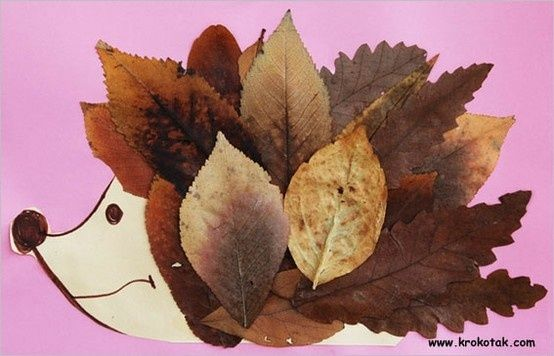 Create an adorable hedgehog using fallen leaves and a sheet of paper. Cute Fall craft for kids!