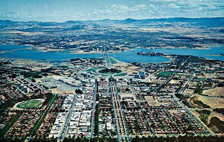 Aerial view of Canberra City in 1968