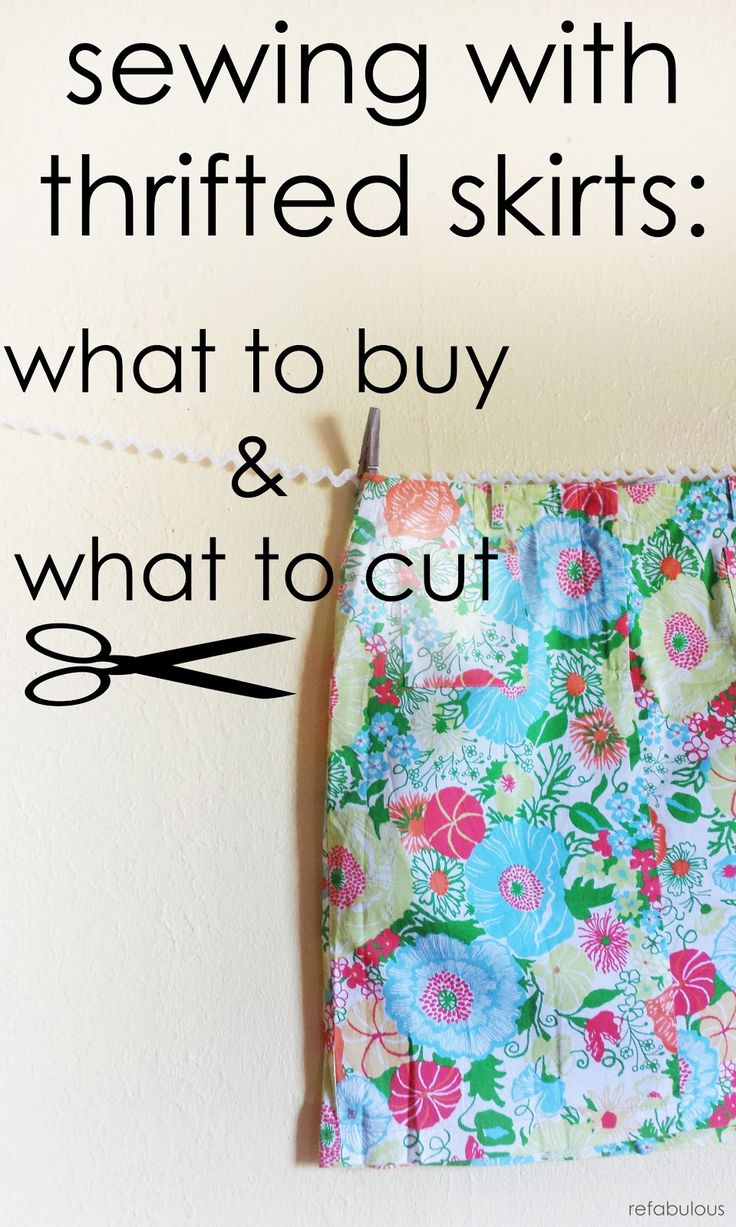 reclaiming fabric from thrift store skirts for sewing, by refabulous
