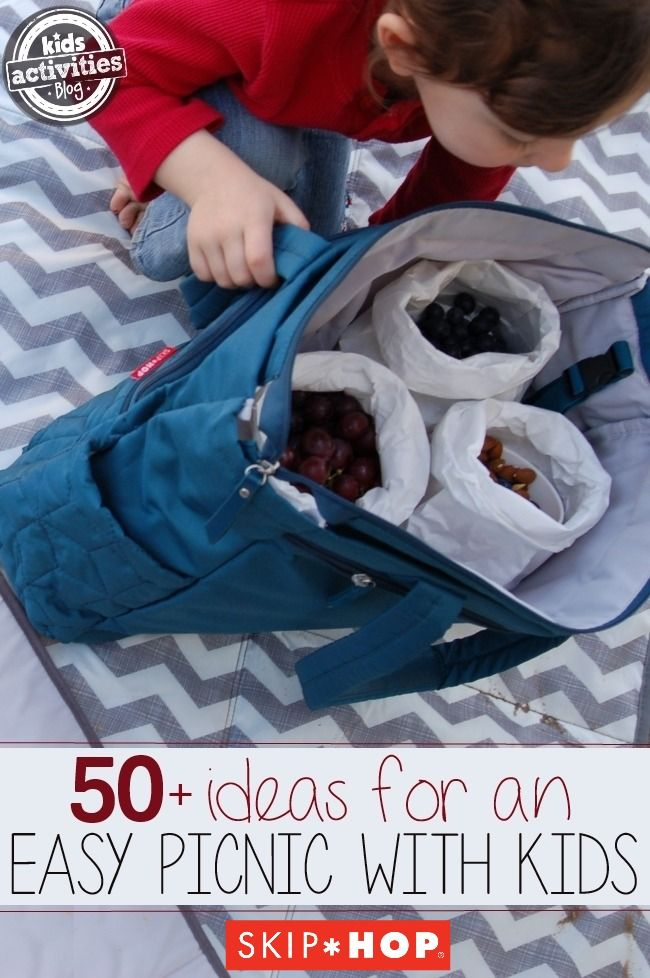 More than 50 fun picnic ideas for kids! Picnicking as a family can be a great event and doesn't take a lot of preparation with Skip Hop picnic essentials.