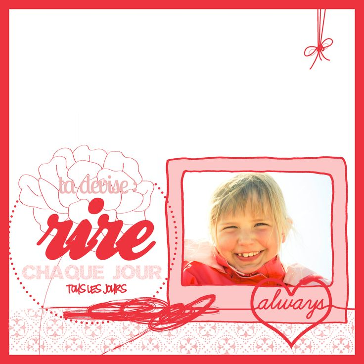 page scrap digital, 30*30, fille, rose, sourire, photographie.