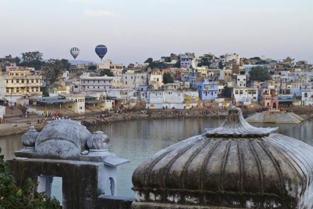 Take a Hot Air Balloon Flight in India: Hot air balloons in Pushkar, India.