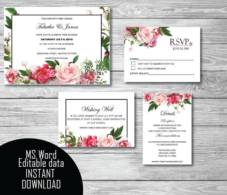 Printable Wedding Invitation Set, Invitation, RSVP, Wishing Well, Details template, Editable Microsoft Word, Instant Download by PrettyDigiDesigns on Etsy