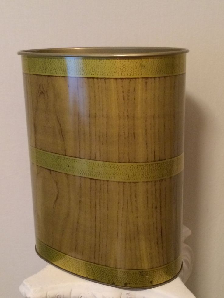 Sold. Mid Century Vintage JV Reed Faux Wood Oval Metal Trash Can Waste Bin Gold Tan Made in #Louisville #Kentucky Stylish Film #Prop KISVTEAM #Mancave by SoaringHawkVintage on #Etsy