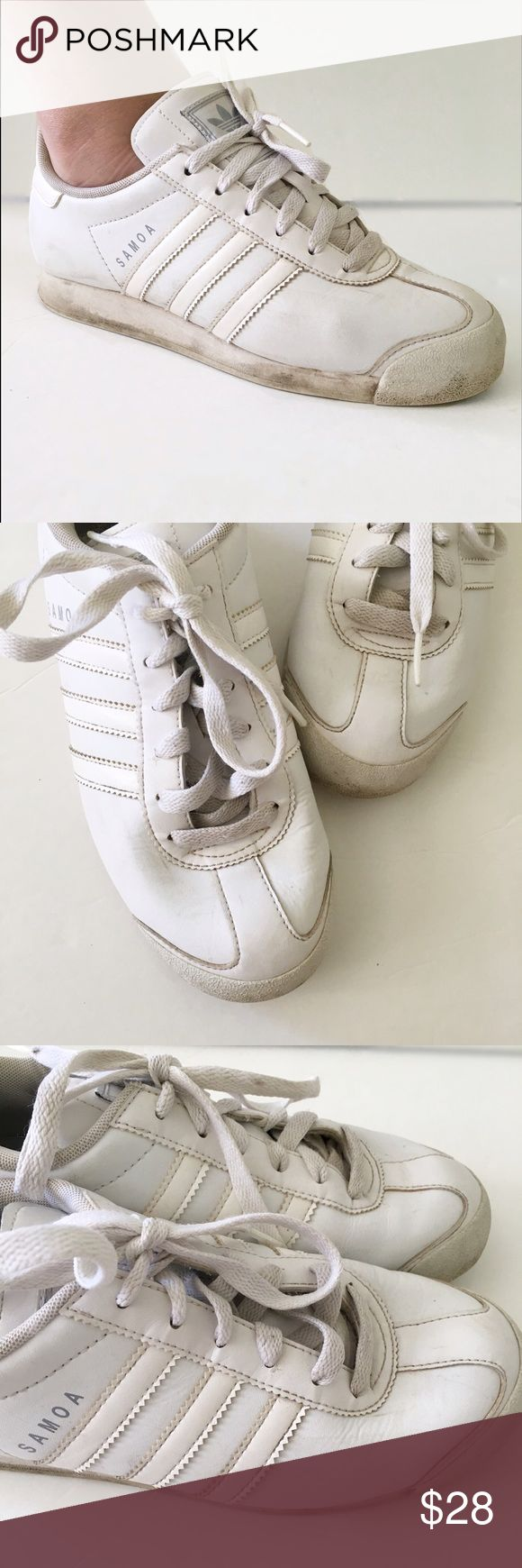 Adidas Soma Shoes Adidas soma shoes. They have a very retro look. They are worn but this have life left in them. They fit on the smaller end of a 6, almost a 5 1/2.   ⭐️10% off 2+ bundle  ⭐️Size 6 ⭐️Smoke free home adidas Shoes Athletic Shoes