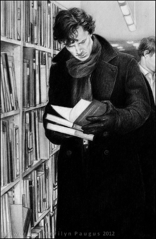 Sherlock reading XD...remember to read, we don't want to wind up like Anderson, now do we?
