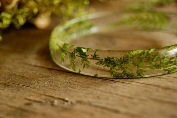 Resin Fern bracelet Eco Terrarium Botanical Nature Plant Best