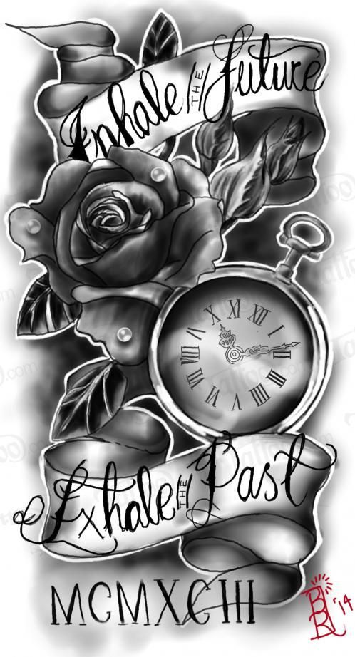 pocket watch with rose and quote quarter sleeve i want this for my sleeve tattoo - Tattoo Idea Designs