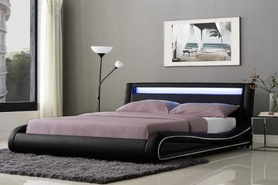 OMEGA LED FAUX LEATHER BED FRAME BLACK - Buy Now @ Price - £289.00