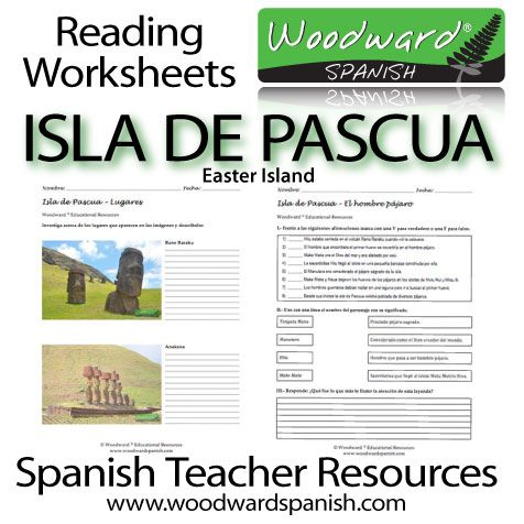 Easter Island - Reading Worksheets - Spanish Teacher Resources - 16 pages with 3 different reading texts, activities and lesson plan.