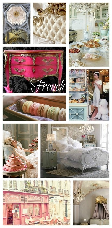 "If I had to sum up my style in just one word, ""French"" would probably be my word, it covers all the bases. The French have achieved a bold and modern look with their black and white stripe; a vintage look with the shabby chic farmhouse style; and their haute couture, crystal chandeliers, and elaborate Rococo furniture make for the perfect mix of glam and feminine"