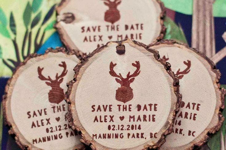 Deer Save the Date Magnets. Wood slices are cut from storm damaged trees and fallen tree branches only.| Green Bride Guide