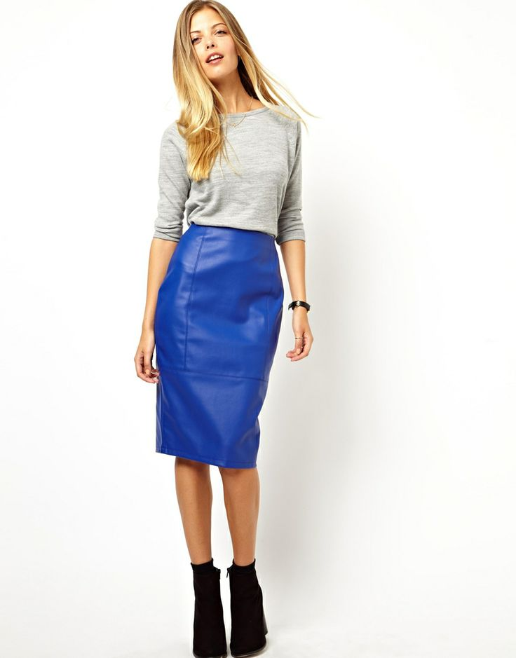 Blue Leather Skirt