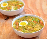 Chicken Sotanghon Soup is a Filipino-style soup made with bite-sized chicken, cellophane noodles and vegetables in a ginger-flavored broth
