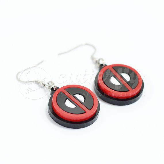 DeadPool Emblem Earrings  Stainless Steel  by CutterflyStudio
