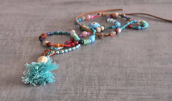 Bohemian Buddha Necklace  Gypsy Long Necklace  Hippie Beaded