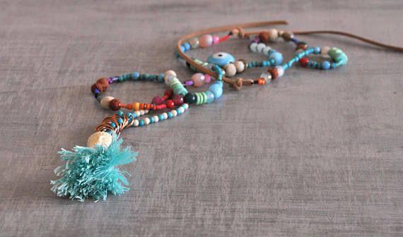 Bohemian Buddha Necklace  Gypsy Long Necklace  Hippie Beaded