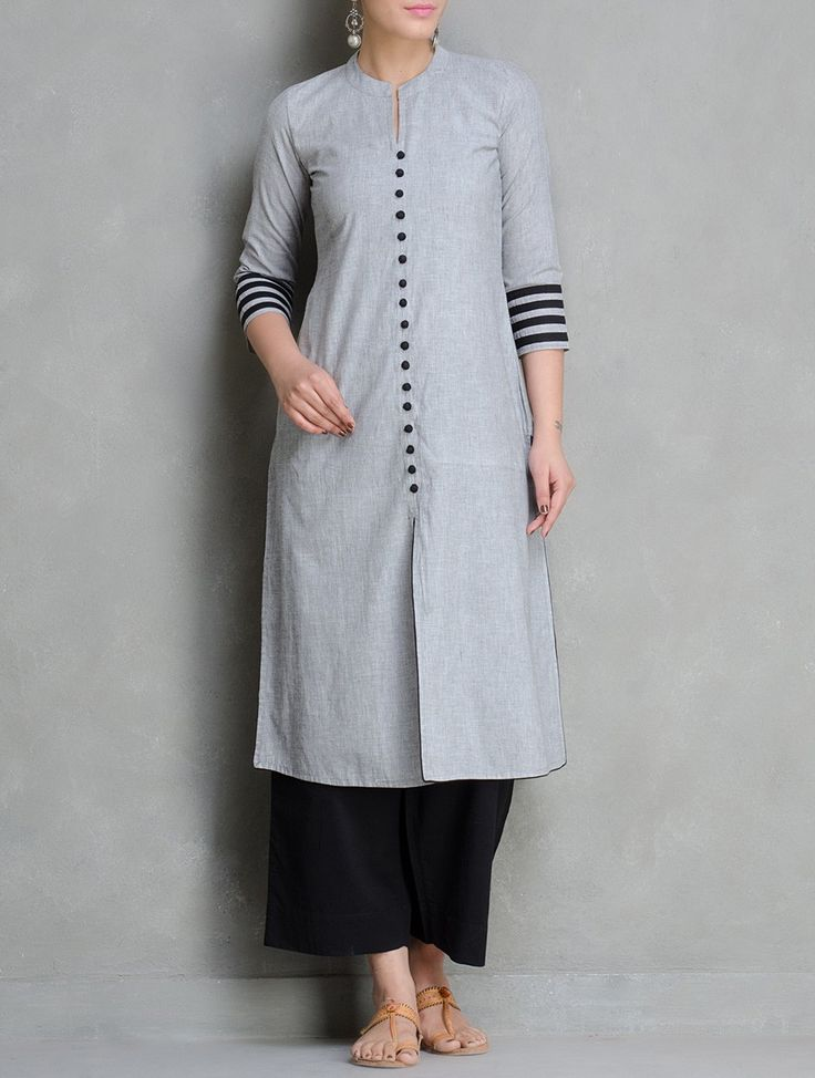 Grey Black Mangalgiri Cotton Kurta by Maati Crafts Apparel Tunics & Kurtas