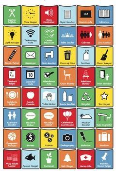 Elementary Classroom Jobs Chart: Pocket Icons, Customizabl