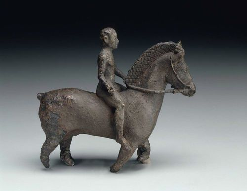 Bronze statuette of a rider and his horse  11.5 high and 12.4 cm long (4 1/2 x 4 7/8 in.) Greek  Greek Period, Archaic Period, 550 – 525 BC ... Museum of Fine Arts ,Boston