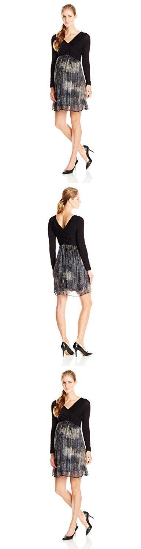 Maternal America Women's Maternity Crossover Dress, Black/Metallic Lurex, Medium