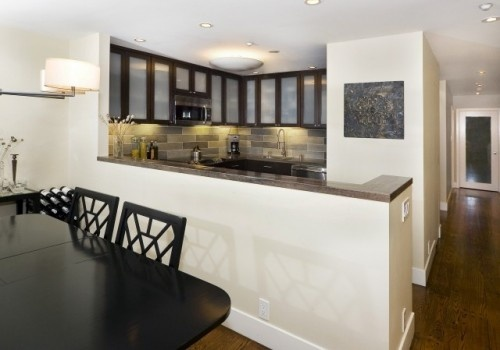 Semi open concept with peninsula and half wall no bar tho for Half wall kitchen ideas