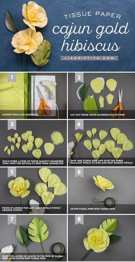 Learn How To Make A Pretty Tissue Paper Cajun Hibiscus Flower 紙花