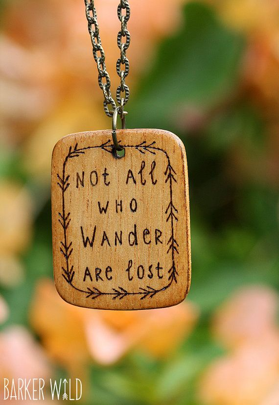 Wander Lost wood pendant, pyrography pendant, hippie wood brooch, gypsy fashion…