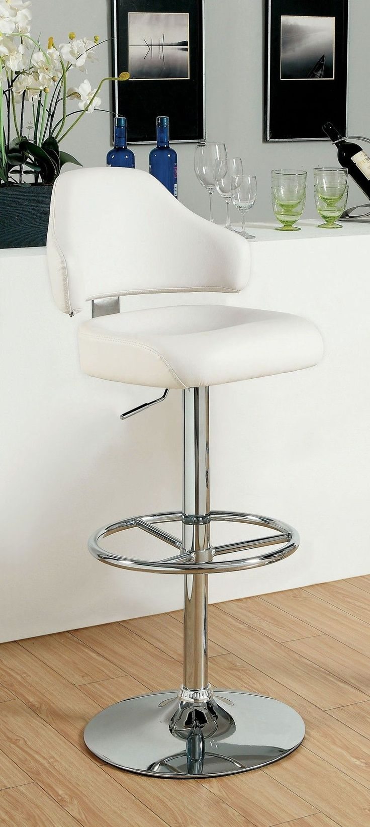 Ruperte Adjustable Height Swivel Bar Stool with Cushion