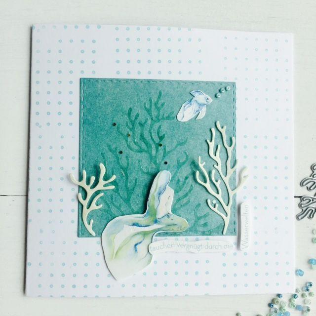 papierZART : Kärtchenwoche No 1 Unterwasserwelt, Meerjungfrau, Arielle, Koralle, Cardmaking, Alexandra Renke, Erlebniswelt, aRTeam, papierZART