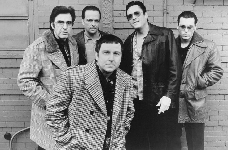 Johnny Depp, Al Pacino, Michael Madsen, Bruno Kirby, and James Russo in Donnie Brasco
