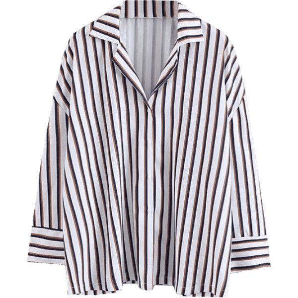 Loose Button Up Striped Shirt ($30) ❤ liked on Polyvore featuring tops, blouses, cut loose shirt, striped top, stripe blouse, button up blouse and striped button up shirt