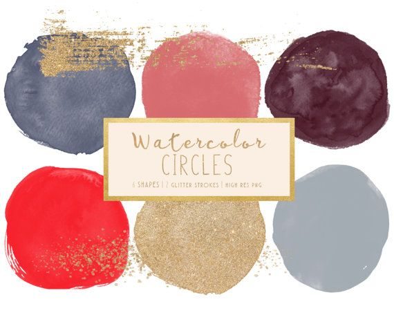 Watercolor Clip art   Watercolor Circles   Gold Glitter   Clip Art Design   Branding Design   Clip Art   Brush Strokes with Glitter   PNG by PeachMintDesigns