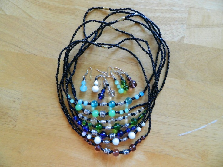 Mixed polished stones and massai beads (necklace+earings) $17