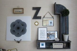 The gallery wall is an assemblage of all sorts of finds and special pieces. The unique shelf is an old factory mold; the handprints are the family's; and the geometric square is a 1960s ceiling light panel (a garage sale find). The map is of Rome, one of their favorite places. http://www.houzz.com/photos/7600549/Homework-music-room-eclectic-collected-fresh-transitional-kids-chicago