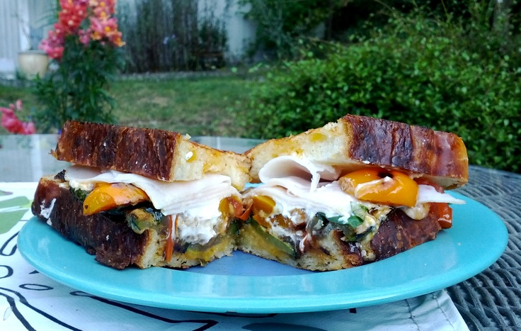 Best sandwich ever! Fry some zucchini and peppers, slice tomato, add some goat cheese, fresh basil and a slice of turkey. Assemble on cheese jalapeno bread and grill. MMmmmmm.: Jalapeno Bread