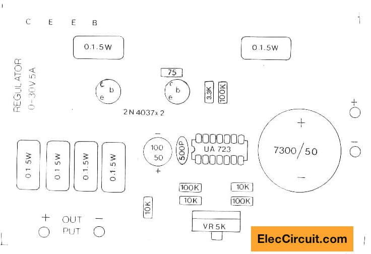 0 30v 0 5a Regulated Variable Power Supply Circuit Power Supply