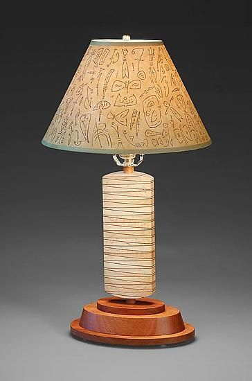 Wedge lamp by mark del guidice wood table lamp available at www