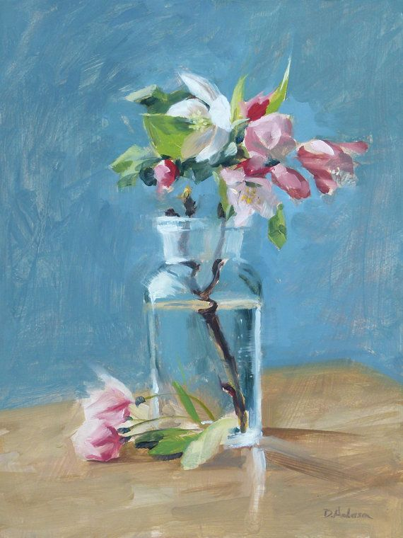A recent original oil painting of a cluster of pink and white apple blossoms in a small, vintage apothocary jar, set against a robins egg blue background.