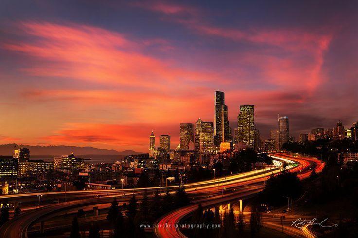 Sunset on the Seattle Skyline by Rick Parchen on 500px – #500px #Parchen #Rick #… – Parchen…