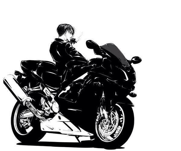 Gorgeous❤The Bike I mean. Ugh...he's smoking. Would've been cooler if he wasn't. Don't you know that AoT promotes Non Smoking!
