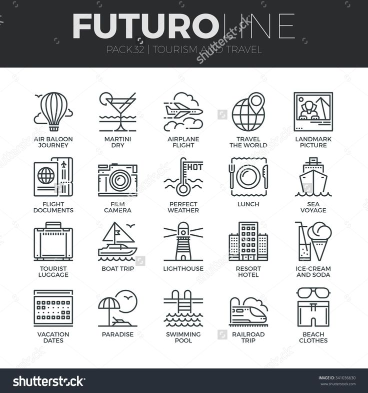 Modern thin line icons set of tourism travel transportation, trip to resort hotel. Premium quality outline symbol collection. Simple mono linear pictogram pack. Stroke vector logo concept, web graphic