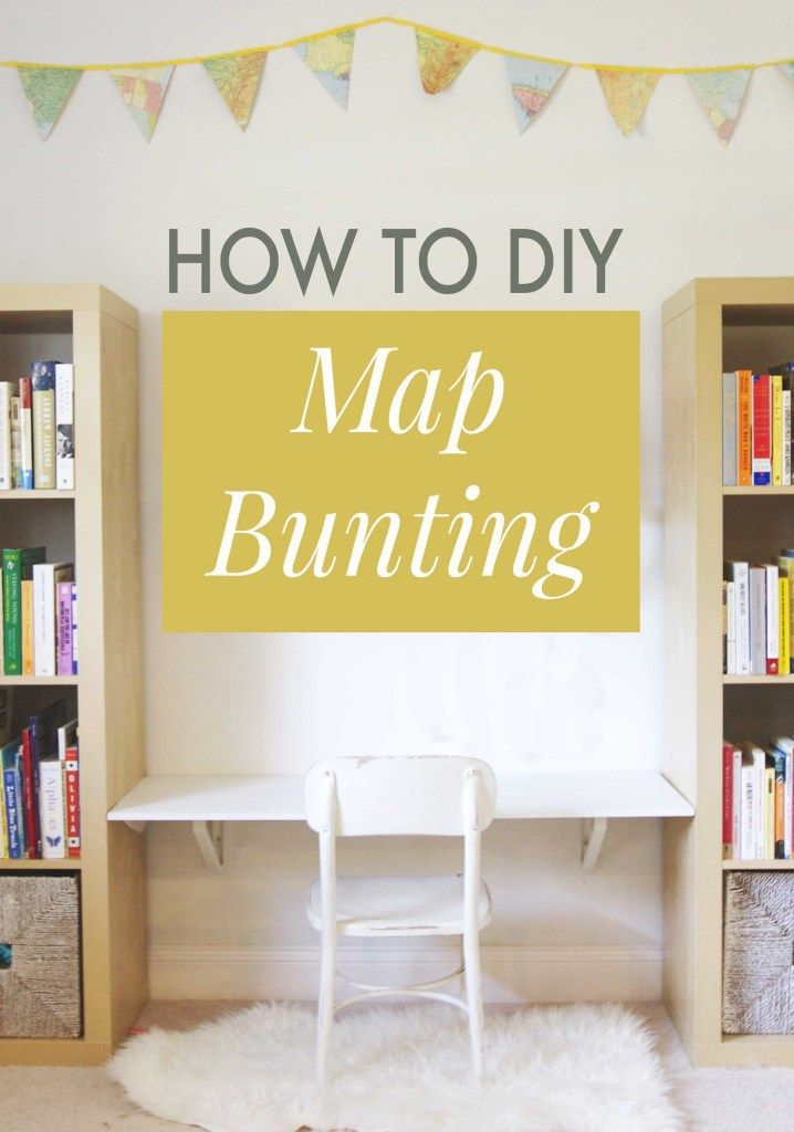 DIY: How to Make Your Own Map Bunting // Annabode.com  The perfect DIY garland for the modern nursery or playroom.